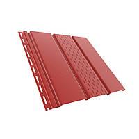 Панель софит BRYZA (сайдинг) красный с перфорацией и гладкий для подшивки свесов крыши.