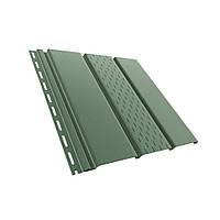 Панель софит BRYZA (сайдинг) зеленый с перфорацией и гладкий для подшивки свесов крыши.