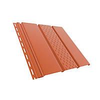 Панель софит BRYZA (сайдинг) кирпичный с перфорацией и гладкий для подшивки свесов крыши.