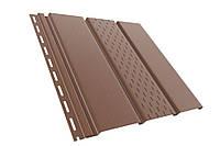 Панель софит BRYZA (сайдинг) коричневый с перфорацией и гладкий для подшивки свесов крыши.