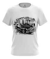 Белая мужская футболка с рисунком AUTO