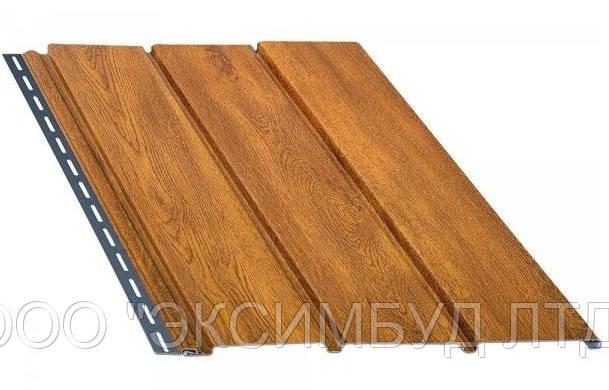 Панель софит BRYZA (сайдинг) золотой дуб с перфорацией и гладкий для подшивки свесов крыши.