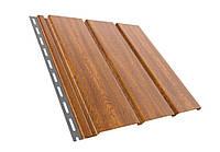 Панель софит BRYZA (сайдинг) золотой орех с перфорацией и гладкий для подшивки свесов крыши.