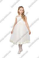 """Праздничное платье для девочки """"гипюр"""" белого цвета"""