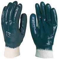 Рабочие Перчатки маслобензостойкие с трикотажным манжетом, покрытые нитрилом