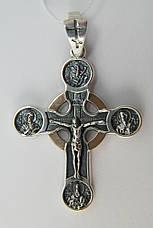 Серебряный православный крест с золотом, фото 2