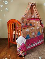 """Защита и комплект постели в кроватку новорожденного-""""Барашки на беж. фоне"""""""