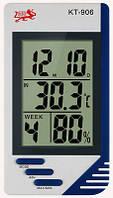 Портативная метеостанция гигрометр - термометр - часы будильник KT-906