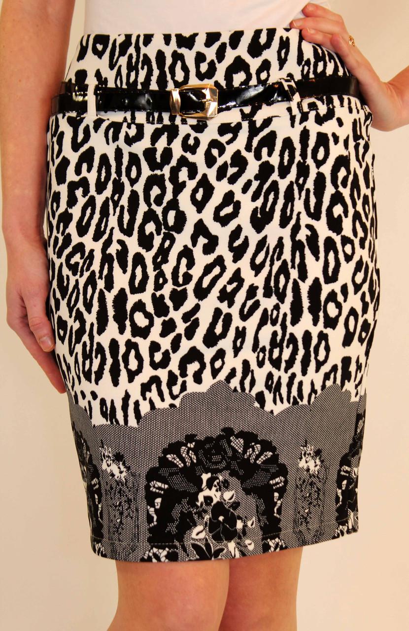 Леопардовая юбка карандаш 42-48 р