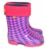 Детские резиновые сапоги - demar twister lux print-hf 0049, пепита розовая