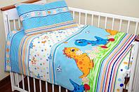 """Детские постельные комплекты из 3-ед-""""Голубые дино"""""""