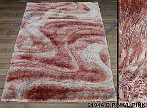 """Ворсистый ковер Терапи shaggy """"Ветер"""", рельефный, светло розовый с темно розовым"""