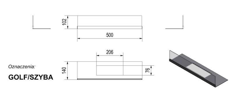 Стекло для биокамина KRATKI Golf (комплект стекло и подставка), фото 2