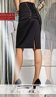 Прямая юбка до колен со шнуровкой