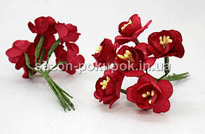 """Цветок """"Весенник""""   (цена за букет из 6 шт) Красный цвет"""