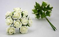 Роза кучерявая 1,8 см (Цена за букет из 10 шт) Молочный цвет