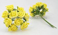 Роза кучерявая 1,8 см (Цена за букет из 10 шт) Желтый цвет