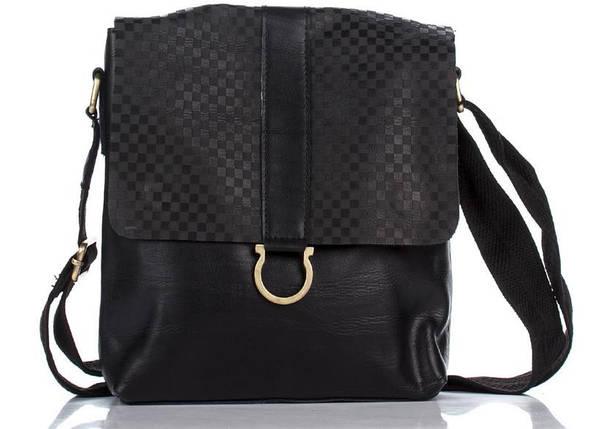 Брендовая повседневная мужская кожаная сумка черная, фото 2