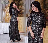 Стильное гипюровое платье для пышных форм 50-56 рр