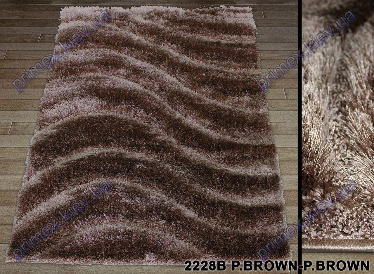"""Ворсистый ковер Терапи shaggy """"Косые волны"""", рельефный, цвет коричневый"""
