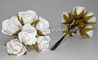 """Цветок """"Роза тканевая"""" (цена за букет из 6 шт) Белый цвет"""