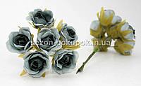 """Цветок """"Роза тканевая"""" (цена за букет из 6 шт) Серый цвет"""