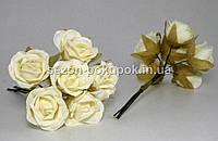 "Цветок ""Роза тканевая"" (цена за букет из 6 шт) Молочный цвет"