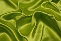Атлас оливковый, ткань