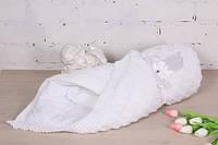 """Вязаный демисезонный конверт-одеяло на выписку """"Лапушка"""" (белый)"""