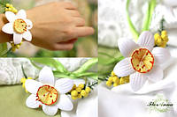"""""""Нарцисс с мимозой"""" авторский браслет на руку с цветами из полимерной глины. Подарок на 8 марта"""