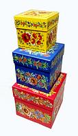Набор подарочных коробок с Петриковской росписью из 3 штук