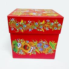 Подарункова коробка з Петриківським розписом червона, фото 2