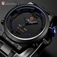 Мужские часы Gulper Shark LED Digital Date Day Alarm Black Blue Men Quartz Sport Wrist Watch
