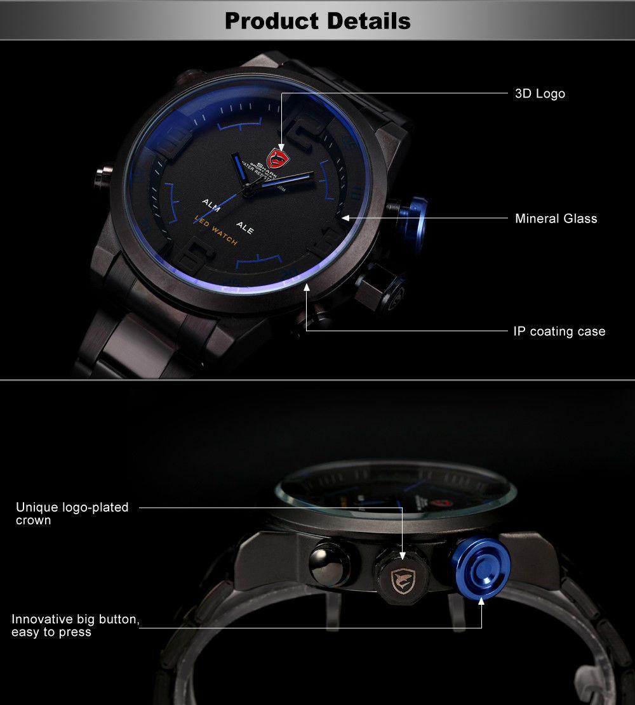 ff76a54fedc0 Мужские часы Gulper Shark LED Digital Date Day Alarm Black Blue Men Quartz  Sport Wrist Watch ...