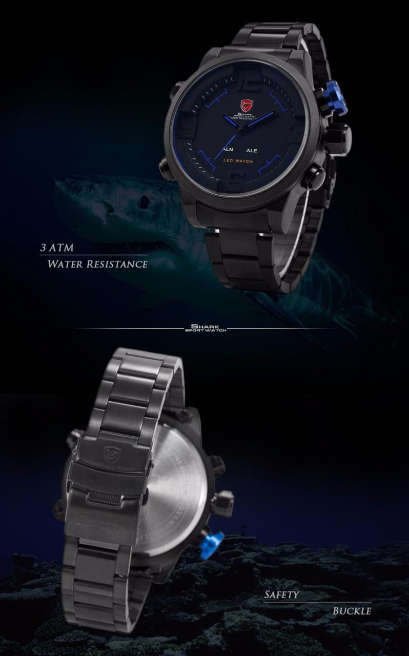 e57ae4a21c26 ... Мужские часы Gulper Shark LED Digital Date Day Alarm Black Blue Men  Quartz Sport Wrist Watch ...
