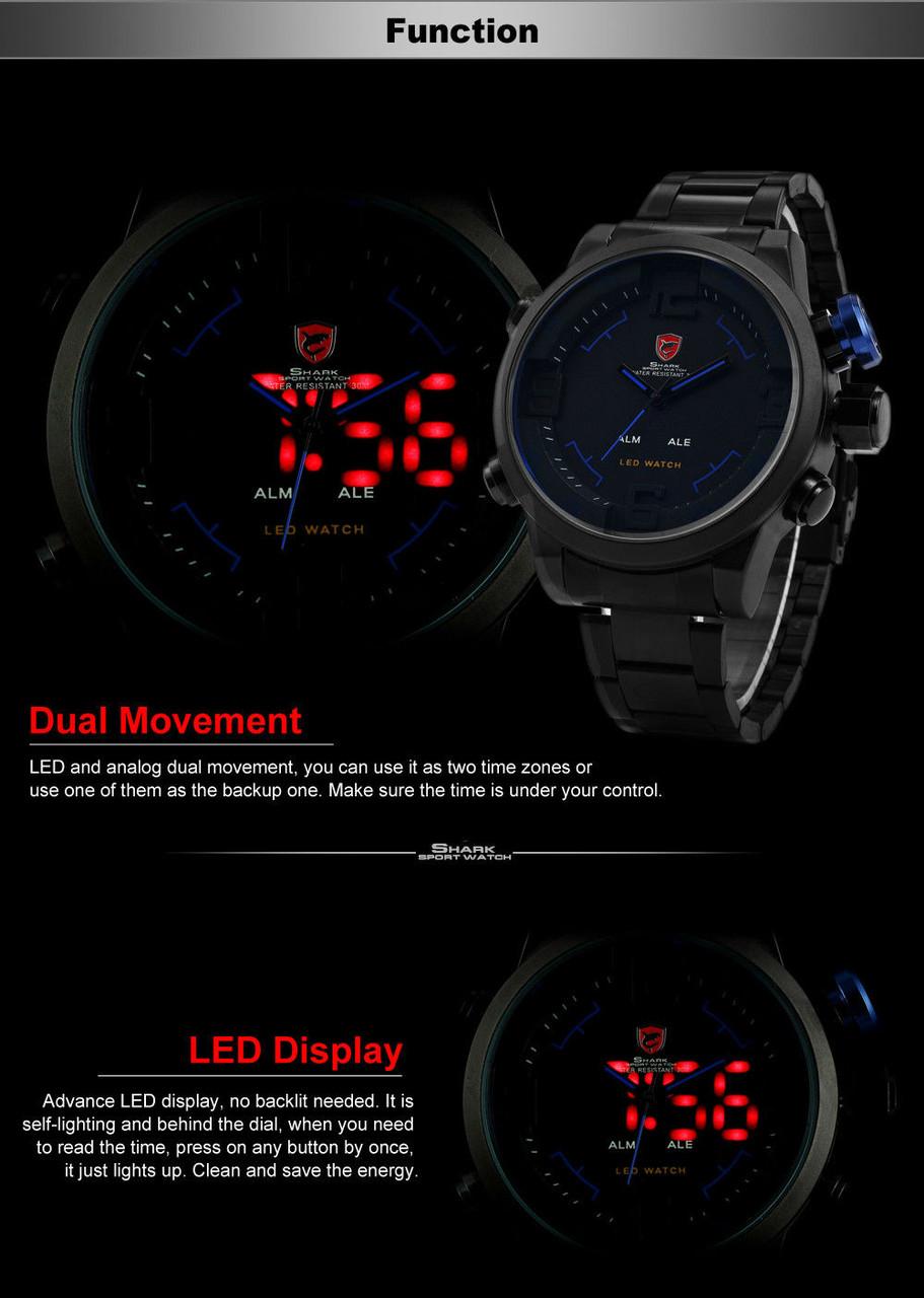2b764967713e ... Мужские часы Gulper Shark LED Digital Date Day Alarm Black Blue Men  Quartz Sport Wrist Watch