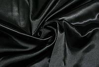 Атлас черный, ткань