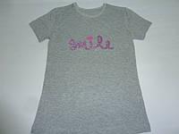 Серая футболка с пайетками Smile, фото 1