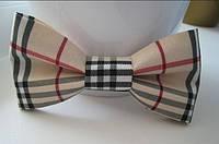 Бабочка галстук в стиле Berbery клетка беж