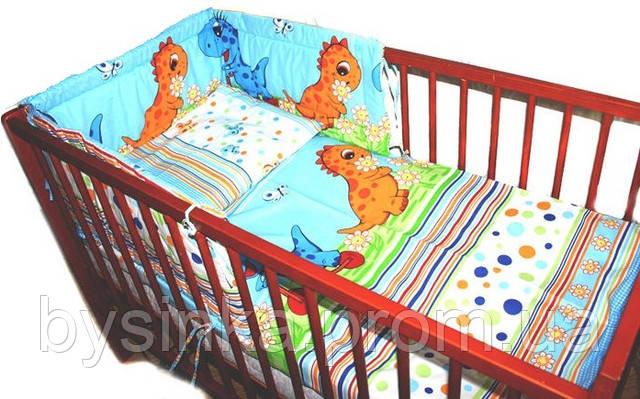 """Комплект постели в кроватку из 4-ед-""""Дино голубые"""". Расцветка Разная"""