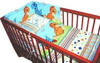 """Комплект постели в кроватку из 4-ед-""""Дино голубые"""". Расцветка Разная, фото 1"""