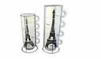 Набор чашек с подставкой Эйфелевая башня бол.