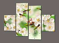 Модульная картина с часами Белые цветы Сакуры 120*93 см  Код: 447.4к.120
