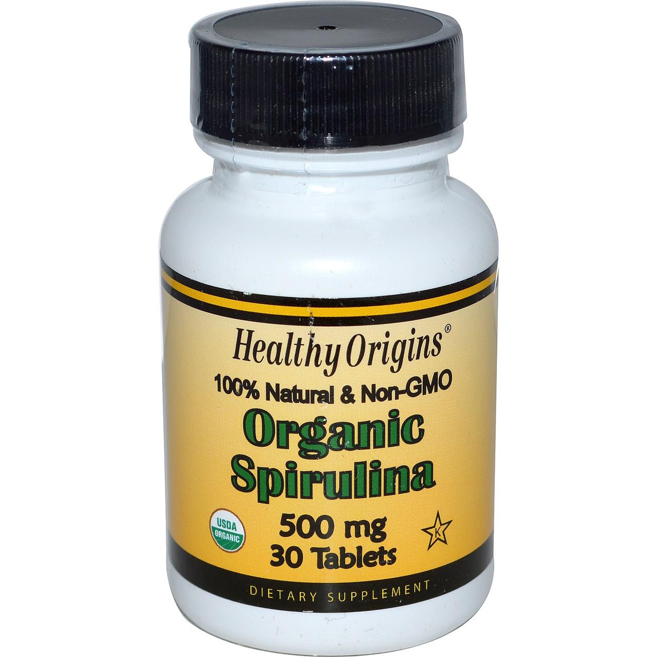 Органическая спирулина, Healthy Origins, 500 мг, 30 таблеток