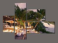 Одульная картина Сейшельские острова ( пальмы, отель, океан ) 127*96,5 см