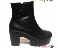 Ботильоны ботинки стильные весна-осень кожаные толстый каблук Uk0172