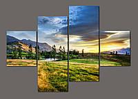 Модульная картина Горный пейзаж. Новая Зеландия 160*114 см Код: 492.4к.160