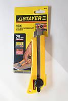 Нож Stayer Professional с лезвием 25 мм и винтовым фиксатором.