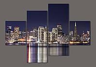 Модульная картина Ночной город Сан-Франциско. Калифорния 160*114 см Код: 486.4к.160