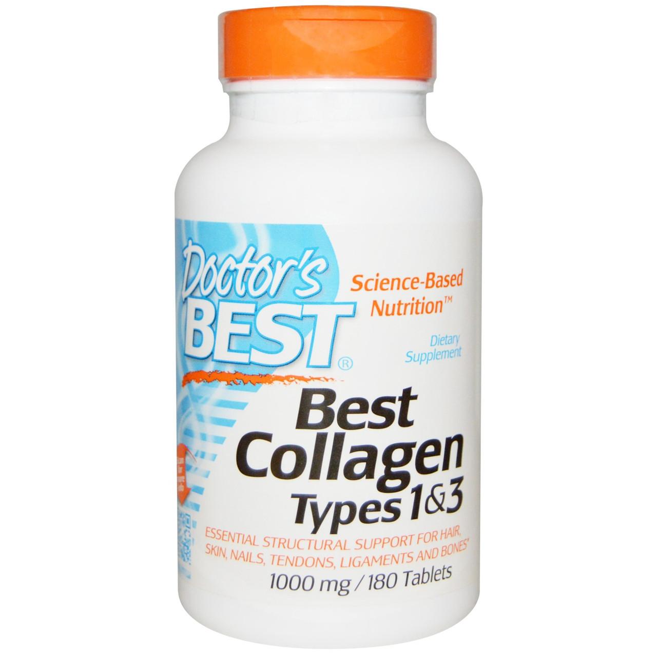 Best коллаген 1 и 3 типа от Doctor's Best, 1000 мг, 180 таблеток. Сделано в США